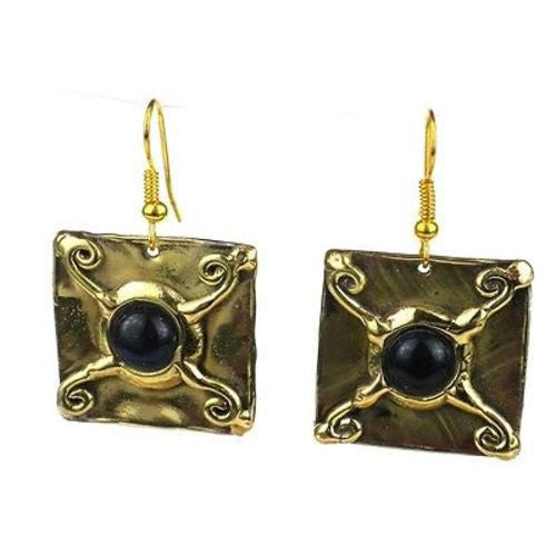 X Squared Onyx Earrings Handmade and Fair Trade
