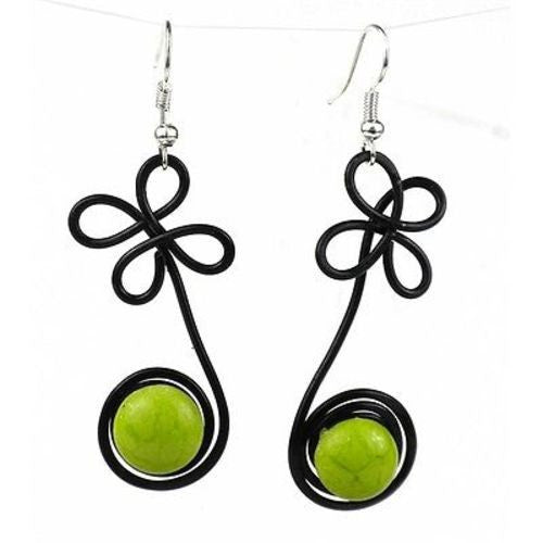 "Enameled Wire and Green Glass Bead ""Sprout"" Earrings Handmade and Fair Trade"