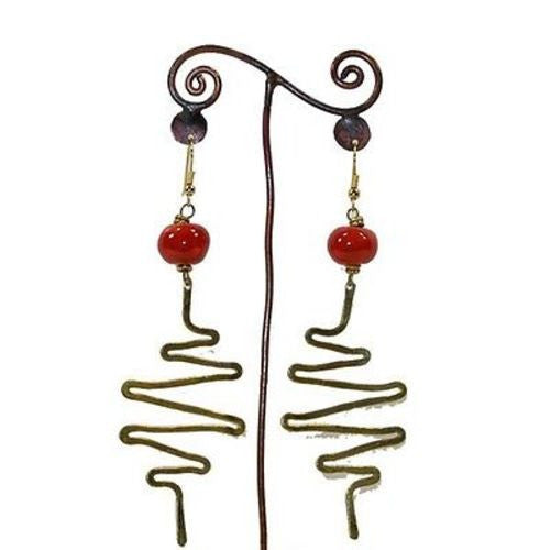 Jacaranda Earring Red Bead with Zig Zags - Kenya