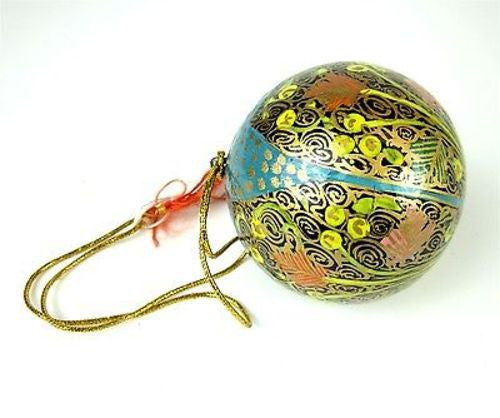 Papier Mache Ball Ornament - 2.5 inch - Blue Hope Handmade and Fair Trade