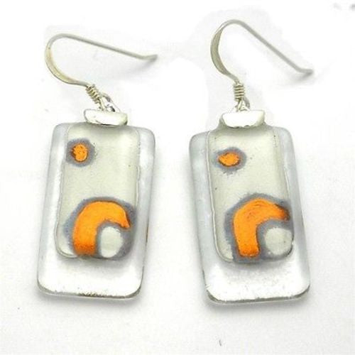 Celestial White Stacked Glass Rectangles Sterling Silver Earring Handmade and Fair Trade