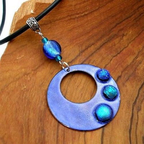 Dichroic Glass Dots on  Enamel Copper Necklace  Blue Handmade and Fair Trade