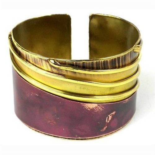 Lines Drawn Brass and  Copper Cuff Handmade and Fair Trade