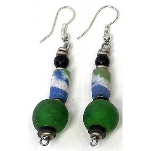 Handcrafted Vintage Green Glass Bead Earrings - Kenya