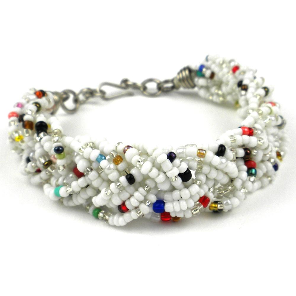 White Six Strand Braid Beaded Bracelet - Zakali Creations