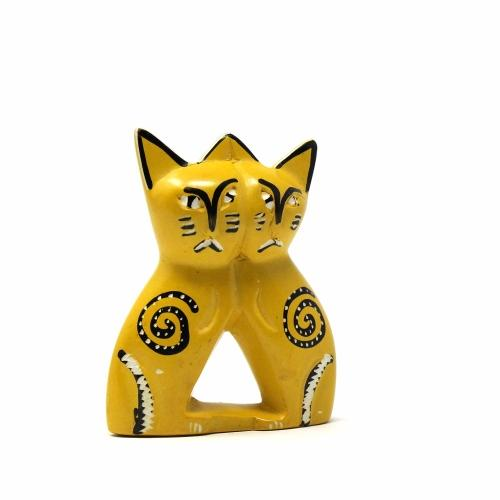 Handcrafted 4-inch Soapstone Love Cats Sculpture in Yellow - Smolart