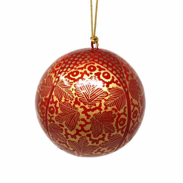 Handpainted Red and Gold Chinar Leaves Papier Mache Hanging Ball Ornament
