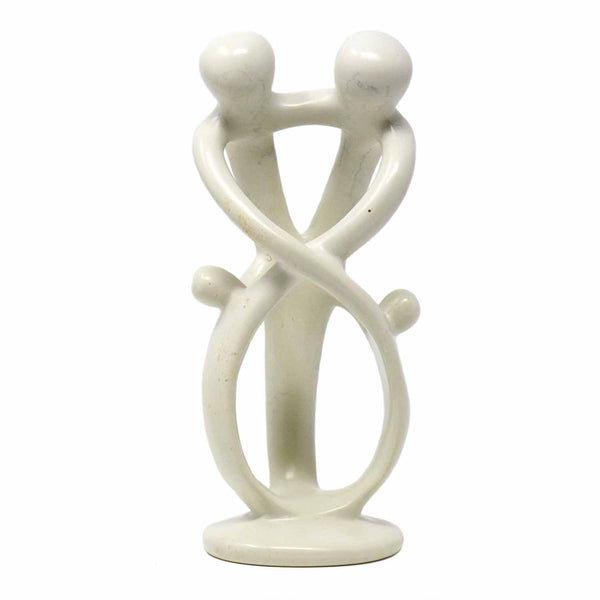 Natural 10-inch Tall Soapstone Family Sculpture - 2 Parents 2 Children - Smolart