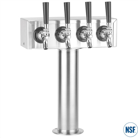 "Four Faucet Stainless Steel ""T"" Tower"