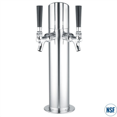 DUAL FAUCET STAINLESS DRAFT ARM W/ ANGLE CAP