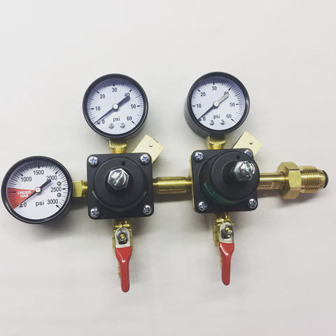 DUAL PRIMARY TRIPLE GAUGE NITROGEN REGULATOR WITH SHUTOFf