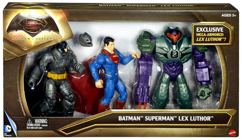 Batman Vs Superman 3 Pack: Batman, Superman, Exclusive Lex Luthor