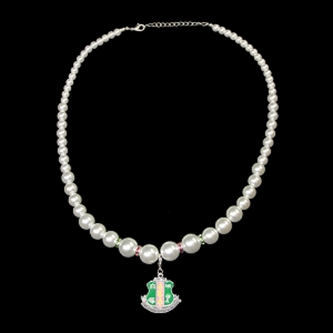 AKA Pearl necklace with Shield Charm