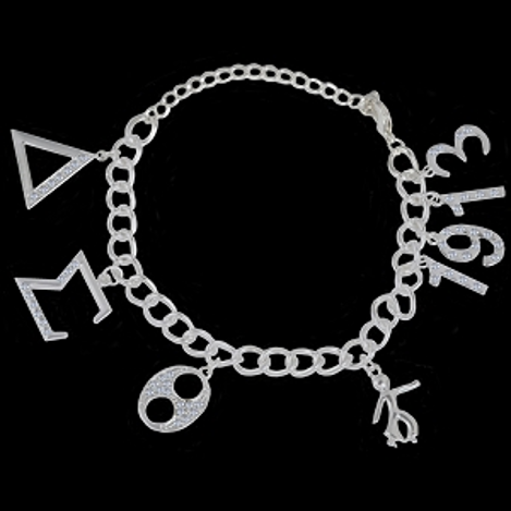 DST  Crystal Charm Bracelet In Silver