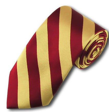 Slim Crimson and Honey Gold College Stripe Woven Tie