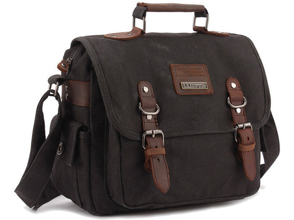 09e2660300532 Black Canvas and Leather Open-pouch Messenger Bag – serbags