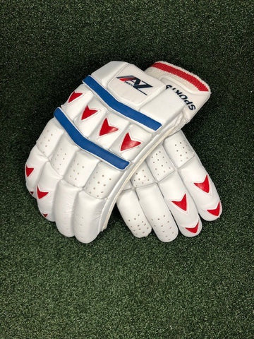AZ White Red & Blue Batting Gloves