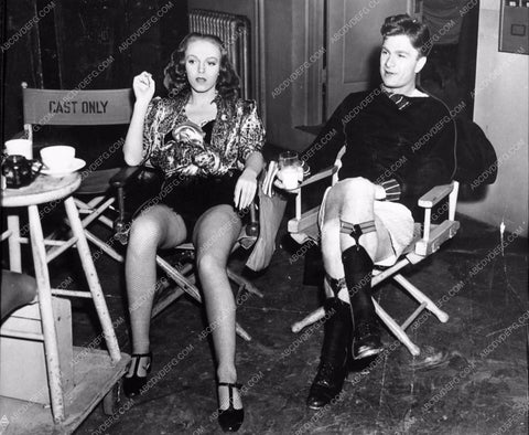 Zorina in fishnets Eddie Albert in garters behind the scenes 856-18