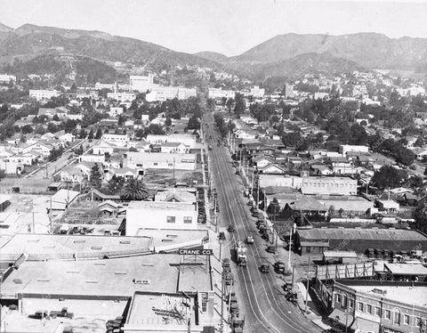 1928 historic Hollywood Los Angeles north view up Highland 2877-16