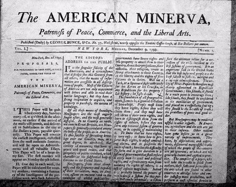 1793 The American Minerva newspaper front page cool interesting 4b09-246