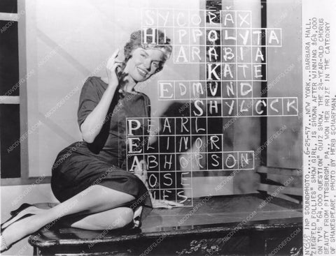 Ziegfeld Girl Barbara Hall wins TV game show $64,000 Question 81bx01-120
