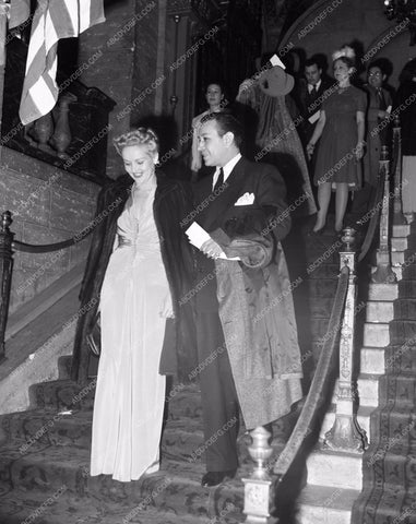 1941 Oscars Betty Grable George Raft arriving at Academy Awards aa1941-23</br>Los Angeles Newspaper press pit reprints from original 4x5 negatives for Academy Awards.