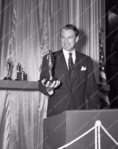 1941 Oscars gary Cooper and his statue Academy Awards aa1941-27</br>Los Angeles Newspaper press pit reprints from original 4x5 negatives for Academy Awards.
