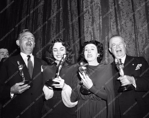 1943 Oscars Paul Lukas Jennifer Jones Katina Paxinou Charles Coburn aa1943-22</br>Los Angeles Newspaper press pit reprints from original 4x5 negatives for Academy Awards.