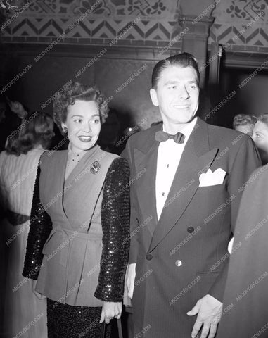 1946 Oscars Jane Wyman Ronald Reagan arriving Academy Awards aa1946-11</br>Los Angeles Newspaper press pit reprints from original 4x5 negatives for Academy Awards.