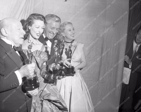 1947 Oscars Edmund Gwenn Loretta Young Ronald Colman Celeste Holm aa1947-12</br>Los Angeles Newspaper press pit reprints from original 4x5 negatives for Academy Awards.