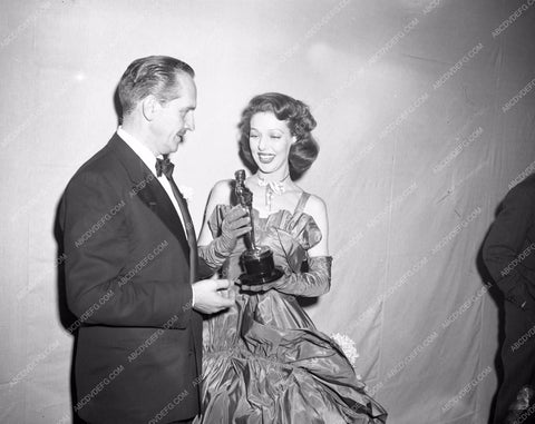 1947 Oscars Loretta Young and her statue Academy Awards aa1947-21</br>Los Angeles Newspaper press pit reprints from original 4x5 negatives for Academy Awards.