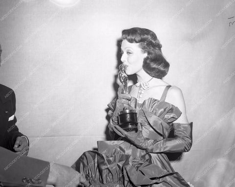 1947 Oscars Loretta Young and her statue Academy Awards aa1947-24</br>Los Angeles Newspaper press pit reprints from original 4x5 negatives for Academy Awards.