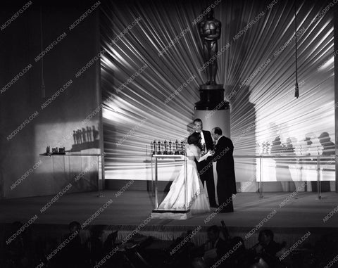 1949 Oscars stage shot of statues and ceremony Academy Awards aa1949-117</br>Los Angeles Newspaper press pit reprints from original 4x5 negatives for Academy Awards.