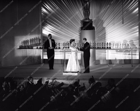 1949 Oscars stage shot of statues and ceremony Academy Awards aa1949-118</br>Los Angeles Newspaper press pit reprints from original 4x5 negatives for Academy Awards.