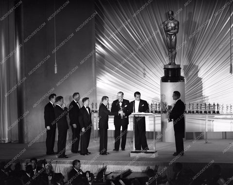 1949 Oscars stage shot of statues and ceremony Academy Awards aa1949-131</br>Los Angeles Newspaper press pit reprints from original 4x5 negatives for Academy Awards.