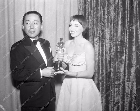 1951 Oscars Leslie Caron presents foreign film Academy Award aa1951-07</br>Los Angeles Newspaper press pit reprints from original 4x5 negatives for Academy Awards.