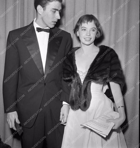 1951 Oscars Leslie Caron and date Academy Awards aa1951-56</br>Los Angeles Newspaper press pit reprints from original 4x5 negatives for Academy Awards.