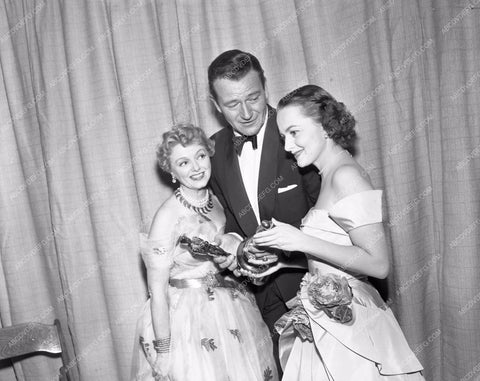 1952 Oscars Janet Gaynor John Wayne Olivia de Havilland Academy Awards aa1952-21</br>Los Angeles Newspaper press pit reprints from original 4x5 negatives for Academy Awards.