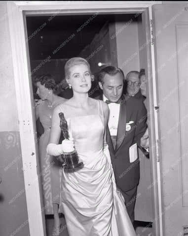 1954 Oscars Grace Kelly candid Academy Awards aa1954-41</br>Los Angeles Newspaper press pit reprints from original 4x5 negatives for Academy Awards.