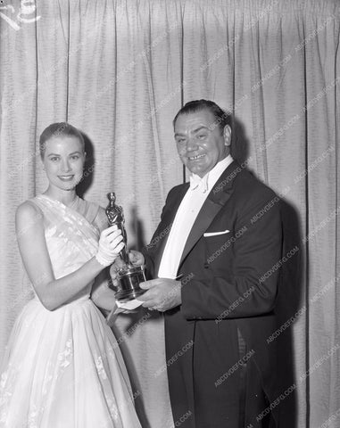 1954 Oscars Grace Kelly Ernest Borgnine Academy Awards aa1954-48</br>Los Angeles Newspaper press pit reprints from original 4x5 negatives for Academy Awards.