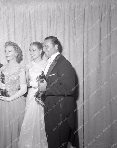 1955 Oscars Jo Van Fleet Grace Kelly Ernest Borgnine aa1955-16</br>Los Angeles Newspaper press pit reprints from original 4x5 negatives for Academy Awards.