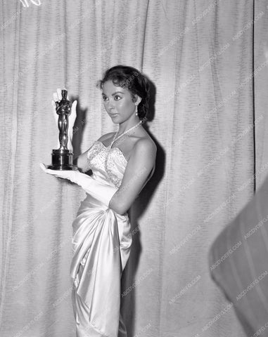 1956 Oscars Rita Moreno and statue Academy Awards aa1956-03</br>Los Angeles Newspaper press pit reprints from original 4x5 negatives for Academy Awards.