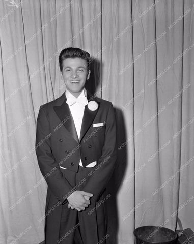 1956 Oscars Tommy Sands backstage Academy Awards aa1956-05</br>Los Angeles Newspaper press pit reprints from original 4x5 negatives for Academy Awards.
