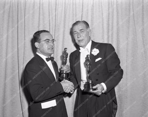 1956 Oscars technical folks and their statues Academy Awards aa1956-06</br>Los Angeles Newspaper press pit reprints from original 4x5 negatives for Academy Awards.