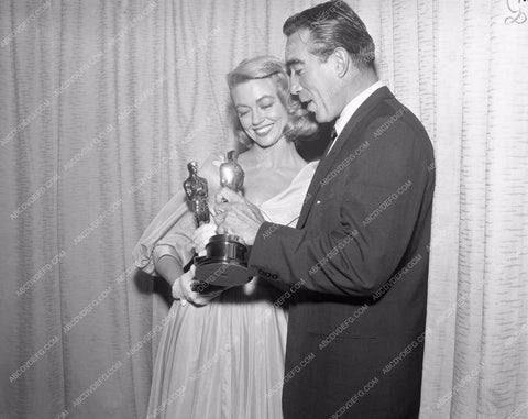 1957 Oscars Dorothy Malone Anthony Quinn Academy Awards aa1956-63</br>Los Angeles Newspaper press pit reprints from original 4x5 negatives for Academy Awards.