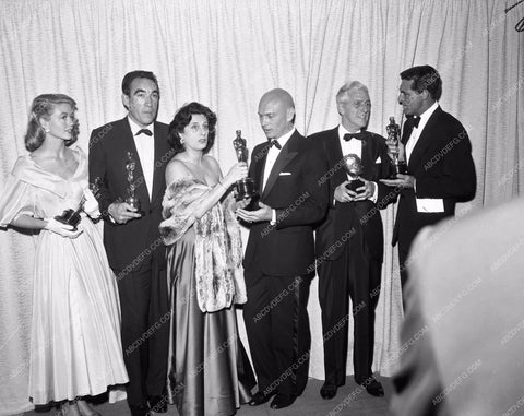 1957 Oscars Dorothy Malone Anthony Quinn Anna Magnani Yul Brynner aa1956-64</br>Los Angeles Newspaper press pit reprints from original 4x5 negatives for Academy Awards.