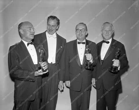 1958 Oscars Vincent Price and others Academy Awards aa1958-53</br>Los Angeles Newspaper press pit reprints from original 4x5 negatives for Academy Awards.