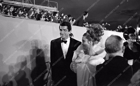 1964 Oscars George Hamilton and date big hair Academy Awards aa1965-13</br>Los Angeles Newspaper press pit reprints from original 4x5 negatives for Academy Awards.