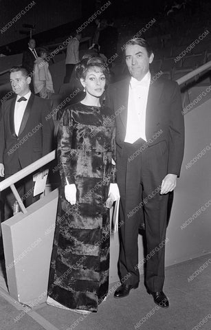 1964 Oscars Gregory Peck and wife arriving Academy Awards aa1965-30</br>Los Angeles Newspaper press pit reprints from original 4x5 negatives for Academy Awards.
