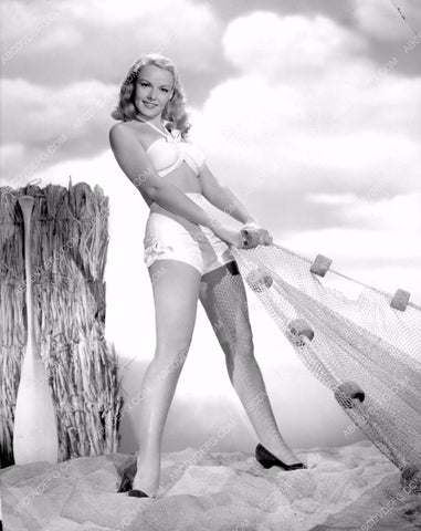 Angela Greene in bikini reeling in lobster net great pinup cheesecake pose 8b20-2105